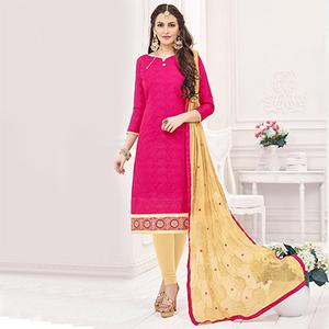 Pink-Beige Partywear Embroidered Bombay Jacquard Salwar Suit