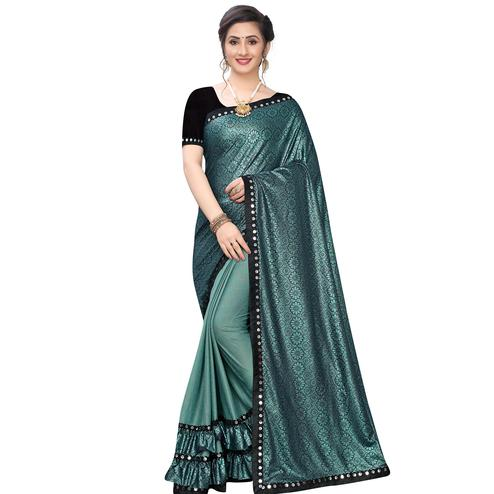 Beautiful Rama Green Colored Party Wear Printed Lycra Blend Half & Half Saree
