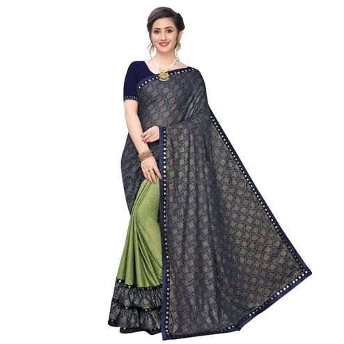 Blooming Green Colored Party Wear Printed Lycra Blend Half & Half Saree