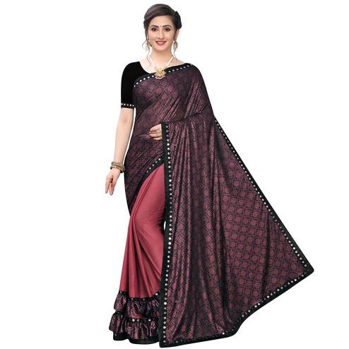 Charming Maroon Colored Party Wear Printed Lycra Blend Half & Half Saree