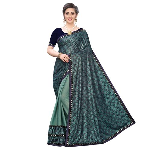 Jazzy Rama Green Colored Party Wear Printed Lycra Blend Half & Half Saree