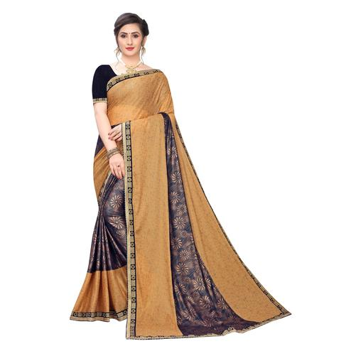 Delightful Cream Colored Party Wear Printed Lycra Blend Saree