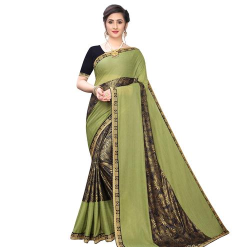 Engrossing Green Colored Party Wear Printed Lycra Blend Saree