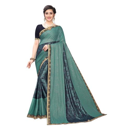 Innovative Rama green Colored Party Wear Printed Lycra Blend Saree