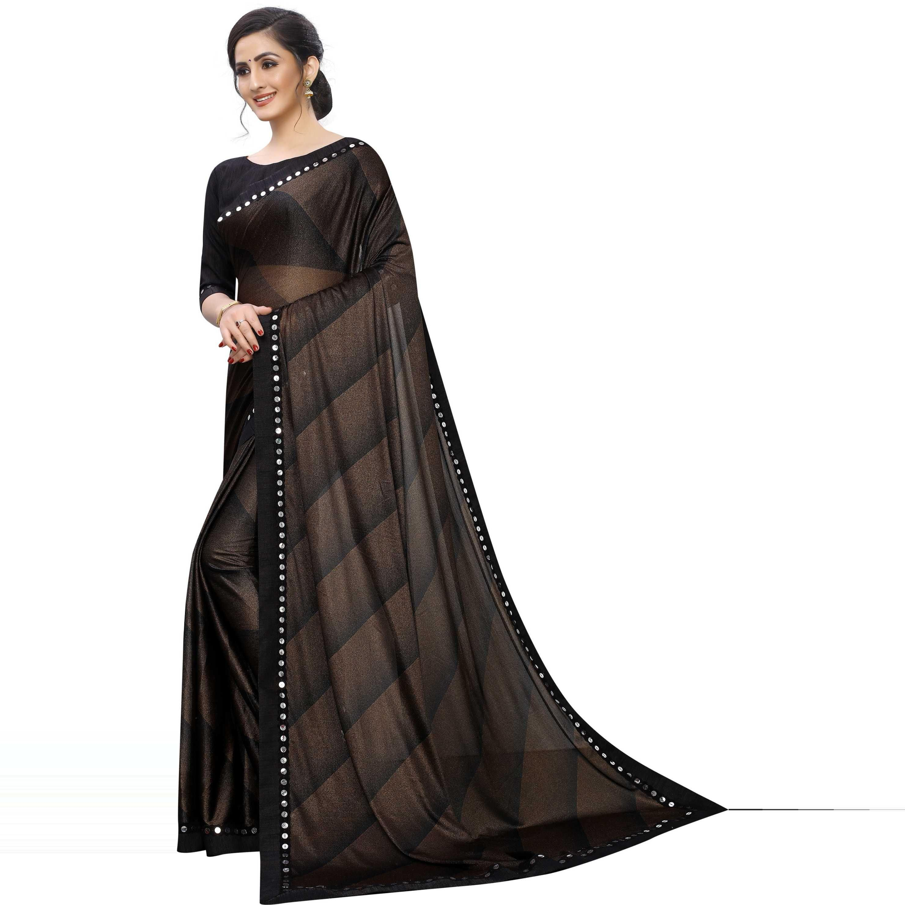 Eye-catching Coffee Brown Colored Party Wear Printed Lycra Blend Saree