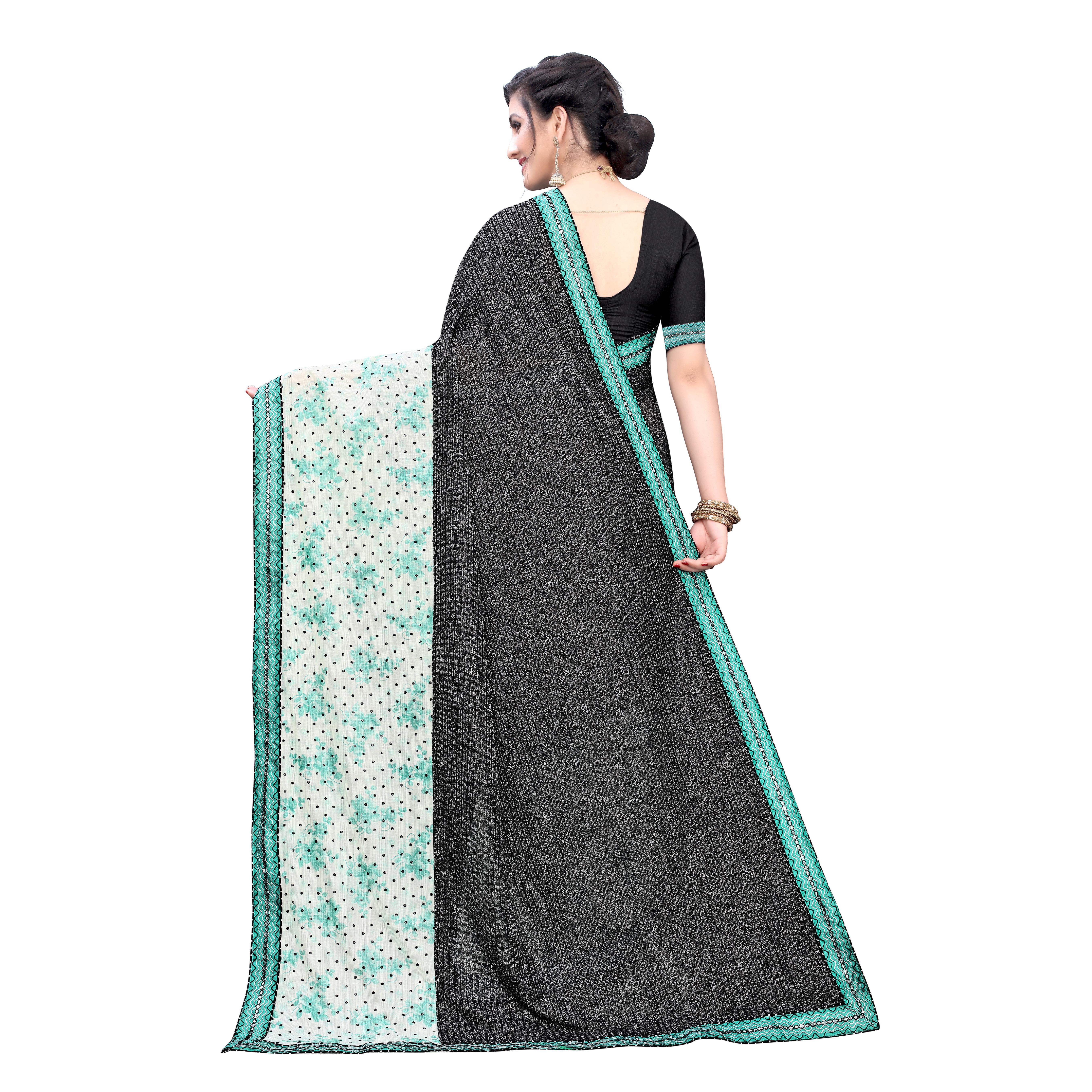 Gorgeous Black Colored Party Wear Printed Lycra Blend Saree