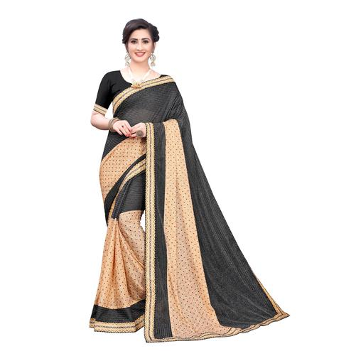 Ideal Black Colored Party Wear Printed Lycra Blend Saree