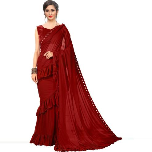 Imposing Maroon Colored Party Wear Solid Lycra Blend Saree