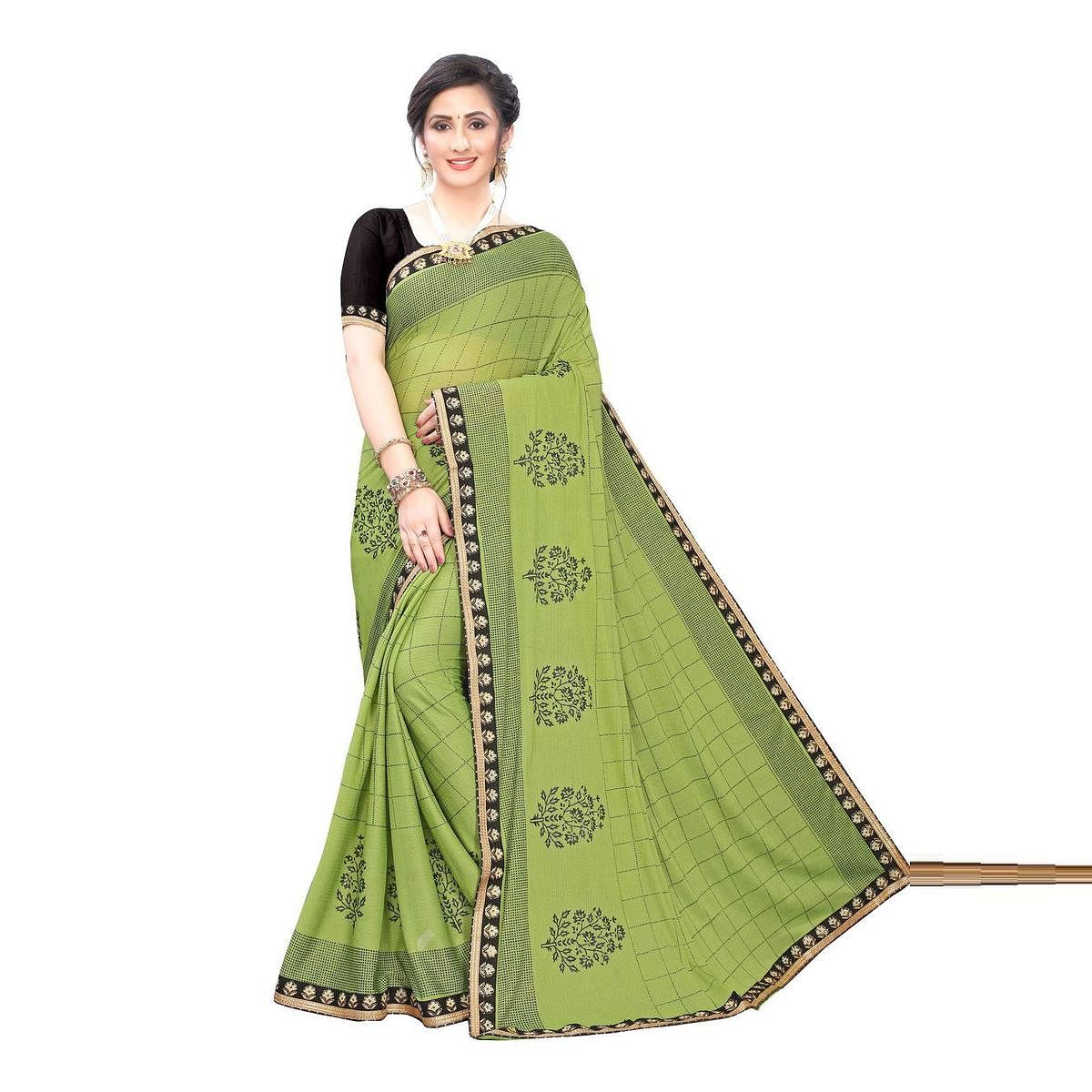 Lovely Green Colored Party Wear Printed Lycra Blend Saree