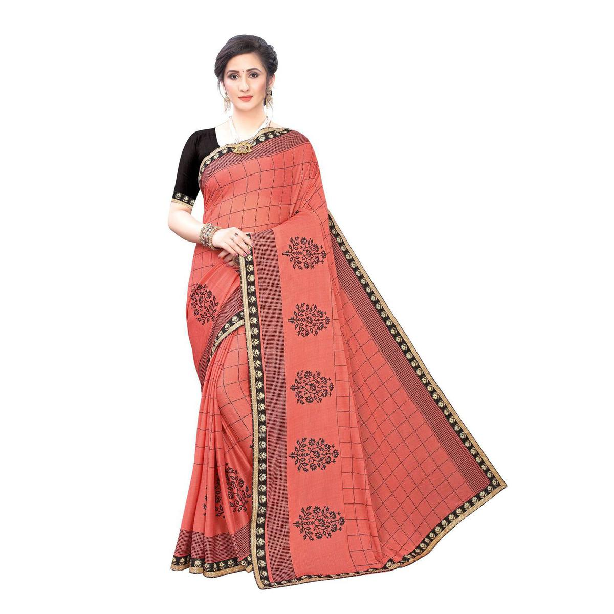 Majesty Peach Colored Party Wear Printed Lycra Blend Saree