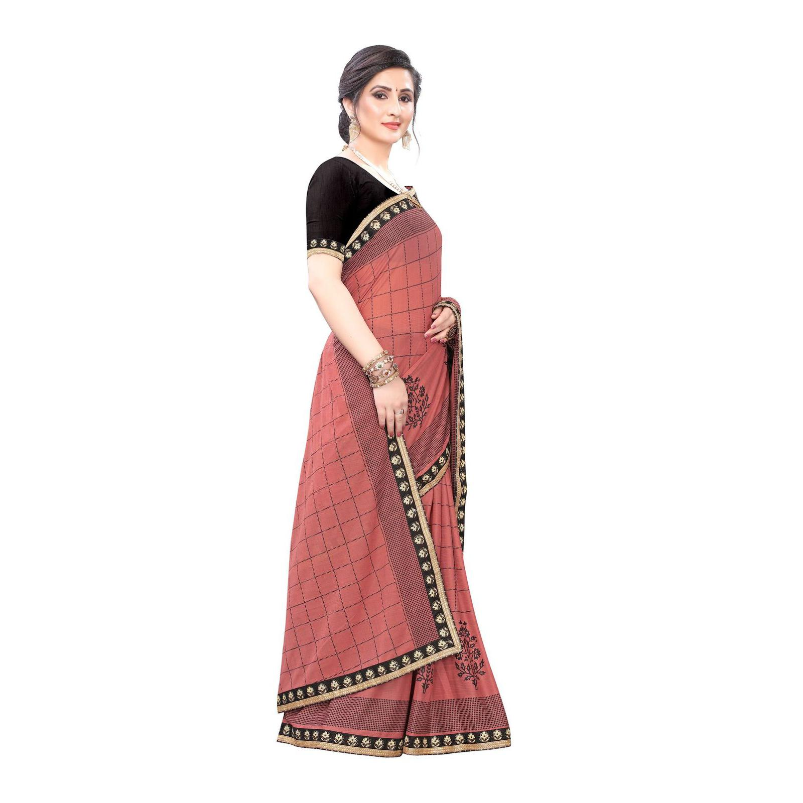 Glowing Pink Colored Party Wear Printed Lycra Blend Saree