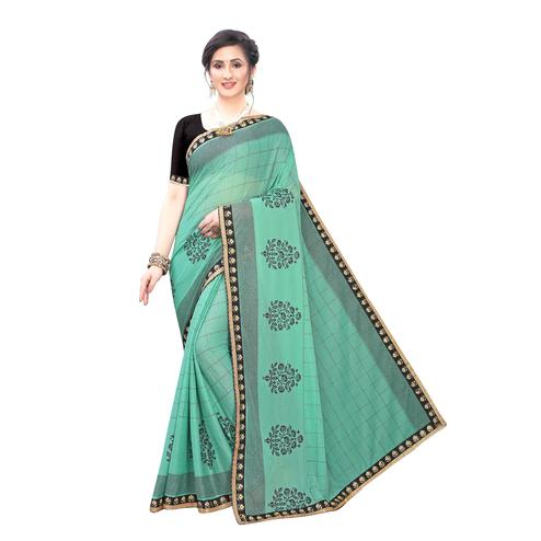 Opulent Rama Green Colored Party Wear Printed Lycra Blend Saree