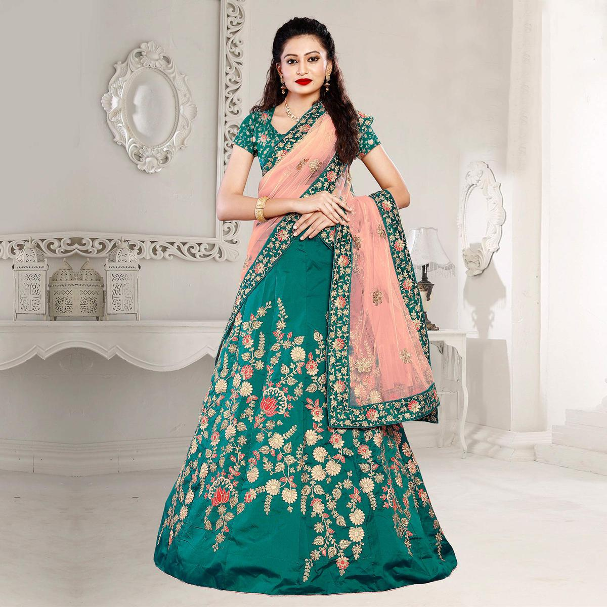 Dazzling Green Embroidered Festive Wear Tapetta Silk Lehenga Choli