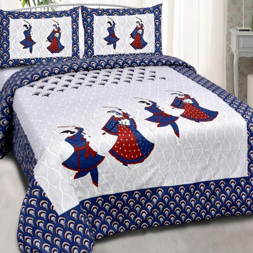 Capricious White-Blue Colored Printed Double Cotton Bedsheet With 2 Pillow Cover