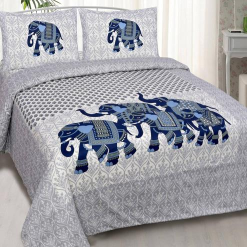 Charming White-Blue Colored Elepant Printed Double Cotton Bedsheet With 2 Pillow Cover
