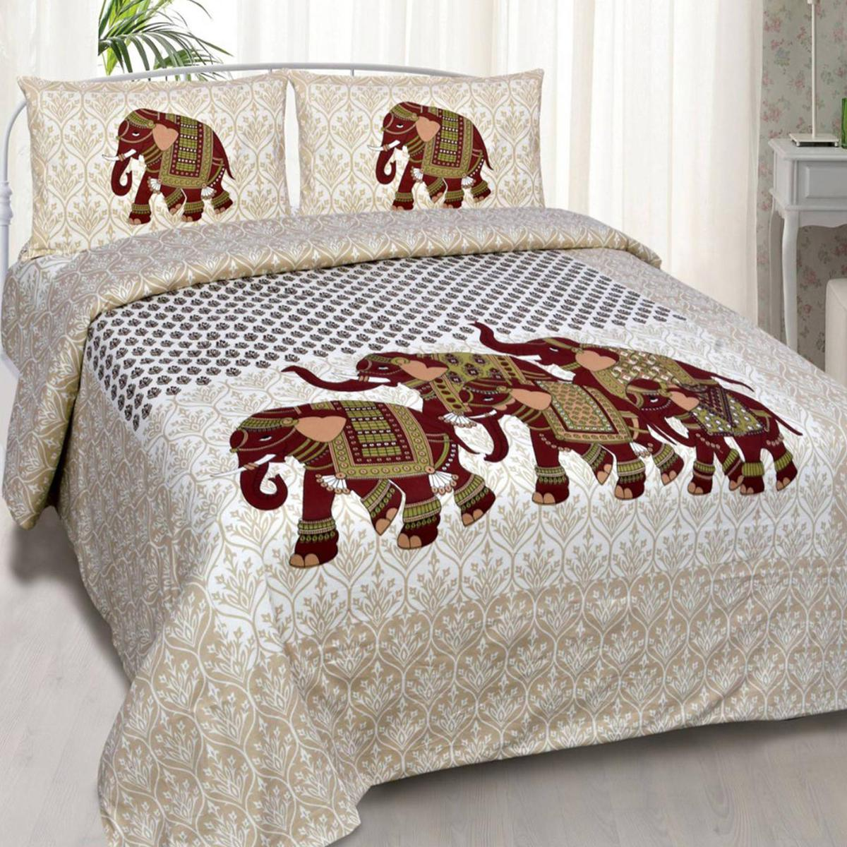 Delightful White-Brown Colored Elepant Printed Double Cotton Bedsheet With 2 Pillow Cover