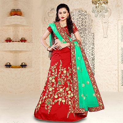 Stunning Red Embroidered Festive Wear Tapetta Silk Lehenga Choli