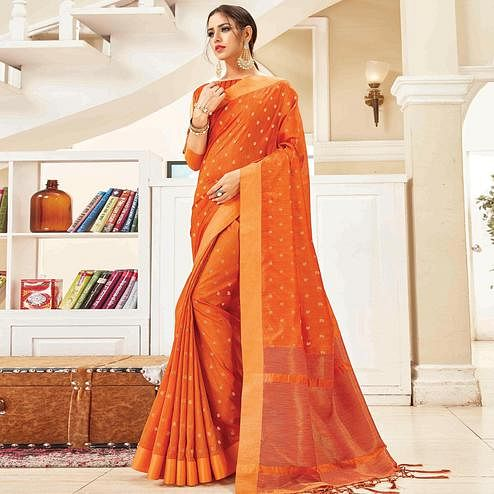 Adorable Orange Colored Festive Wear Woven Handloom Silk Saree With Tassels