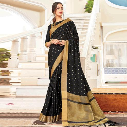 Attractive Black Colored Festive Wear Woven Handloom Silk Saree With Tassels