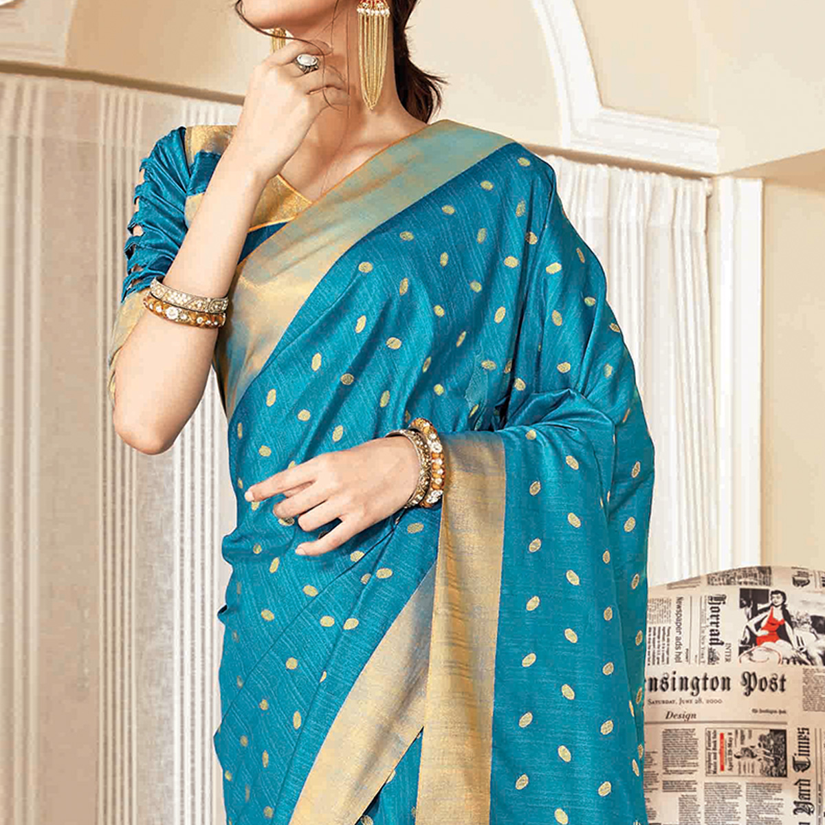 Beautiful Blue Colored Festive Wear Woven Handloom Silk Saree With Tassels