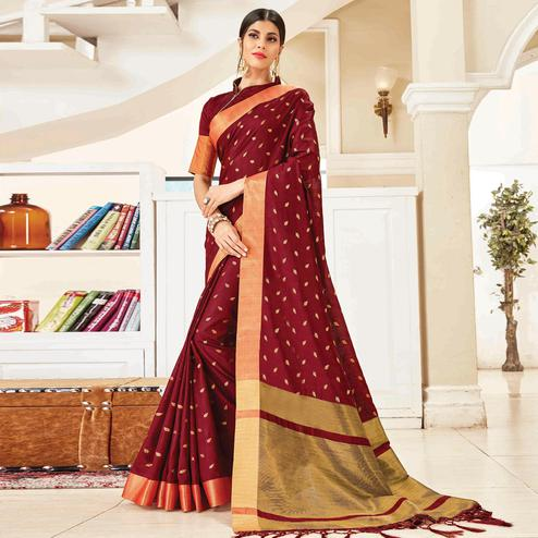 Charming Wine Colored Festive Wear Woven Handloom Silk Saree With Tassels