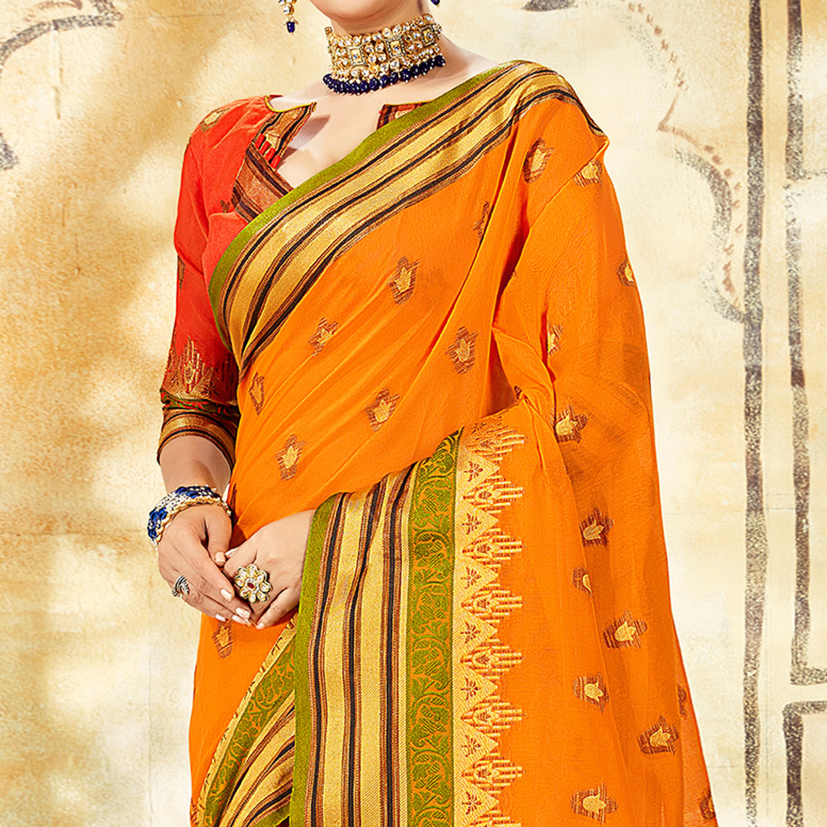 Exotic Orange Colored Festive Wear Woven Cotton Saree