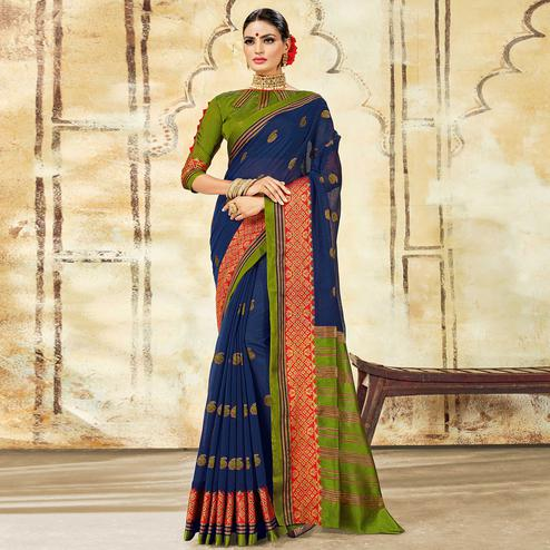 Trendy Navy Blue Colored Festive Wear Woven Cotton Saree