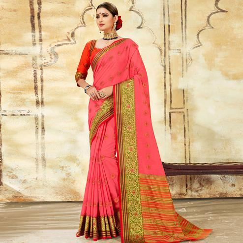 Elegant Pink Colored Festive Wear Woven Cotton Saree
