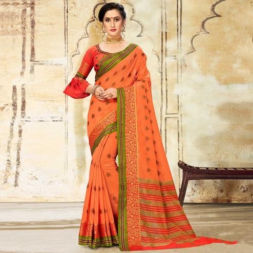 Radiant Orange Colored Festive Wear Woven Cotton Saree