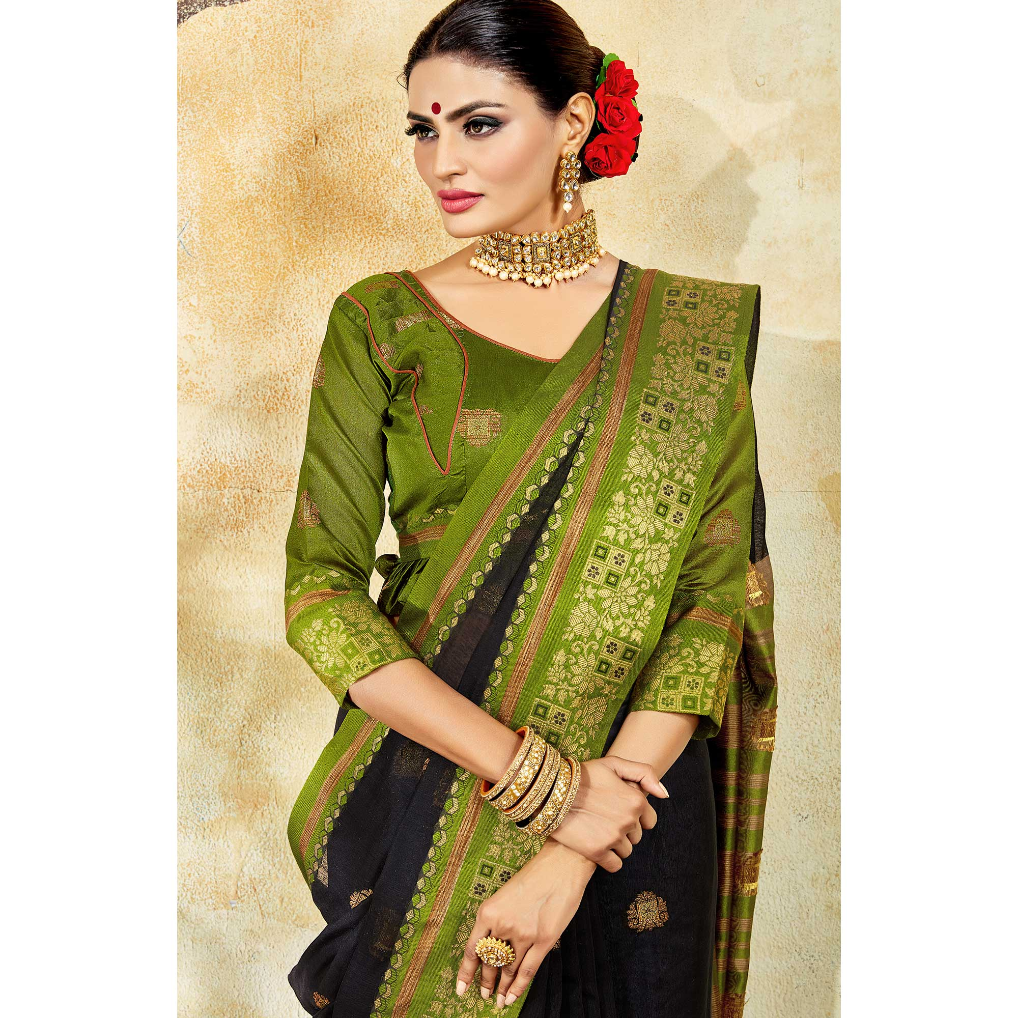 Pleasant Black Colored Festive Wear Woven Cotton Saree