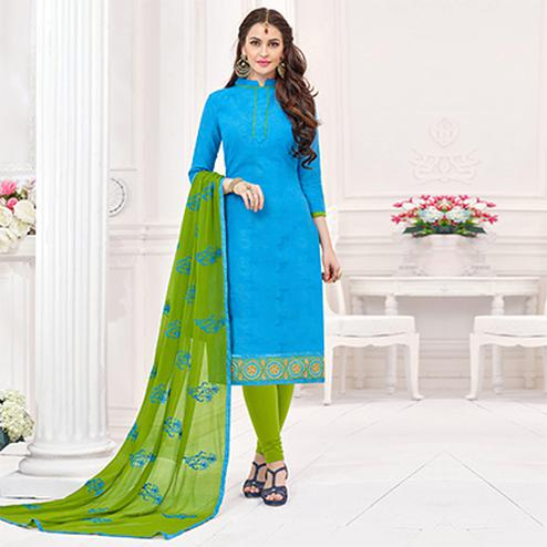 Blue-Green Partywear Embroidered Bombay Jacquard Salwar Suit