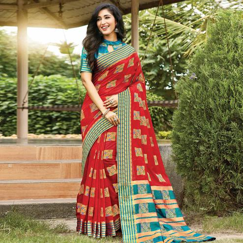 Appealing Red Colored Festive Wear Woven Cotton Saree