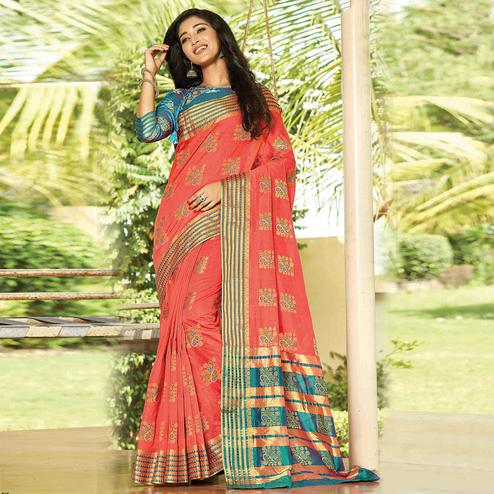 Groovy Orange Colored Festive Wear Woven Cotton Saree