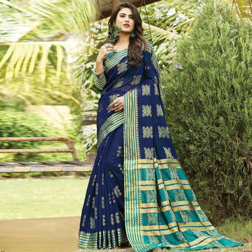 Adorning Navy Blue Colored Festive Wear Woven Cotton Saree