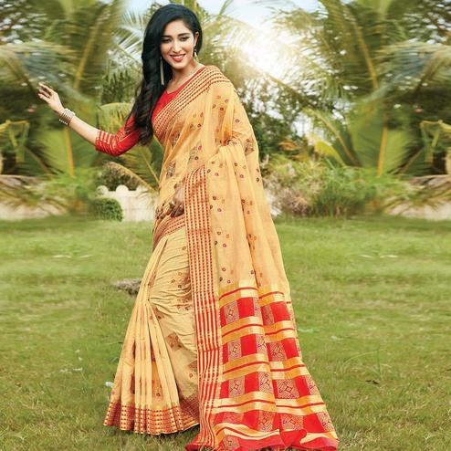 Exclusive Cream Colored Festive Wear Woven Cotton Saree