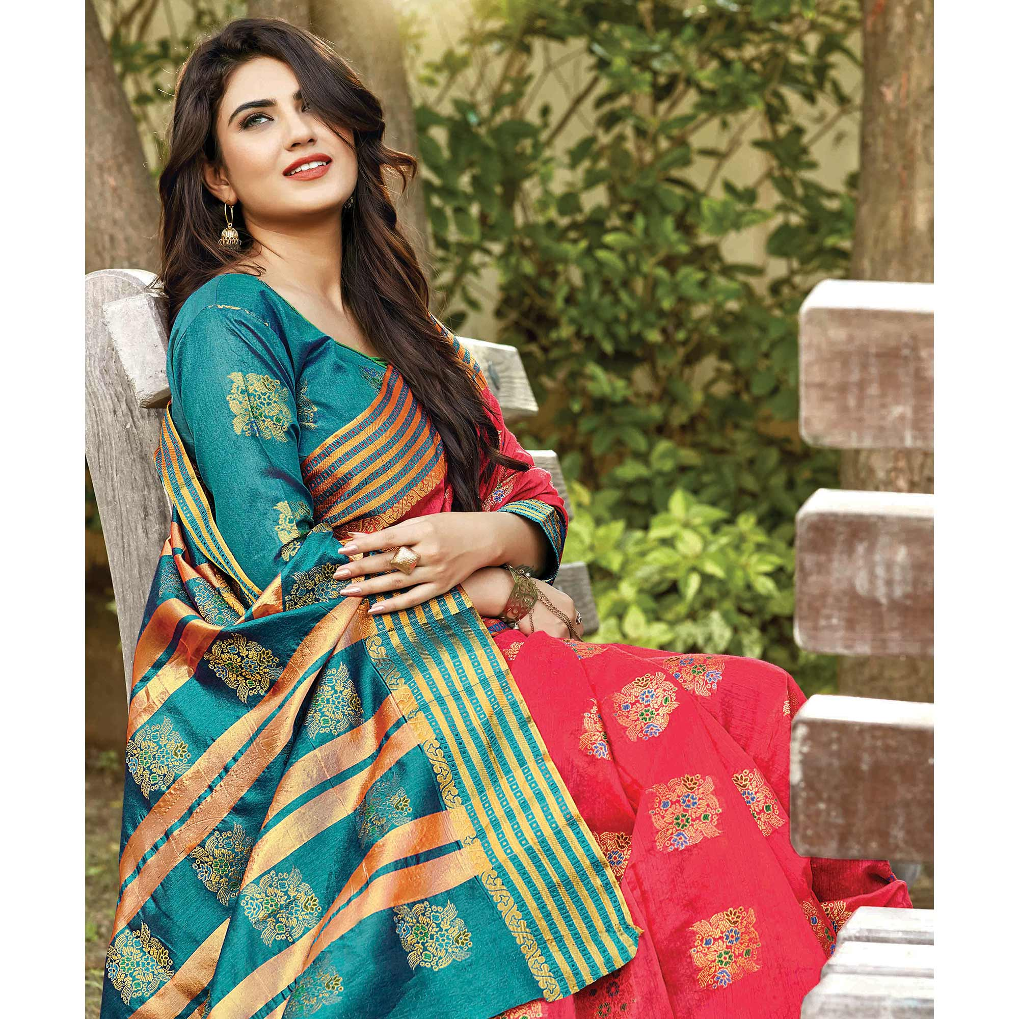 Intricate Coral Red Colored Festive Wear Woven Cotton Saree