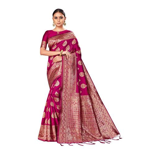 Amegh - Magenta Pink Colored Festive Wear Woven Banarasi Silk Saree With Tassels