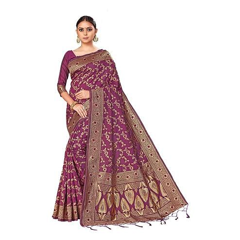 Amegh - Purple Colored Festive Wear Woven Banarasi Silk Saree With Tassels