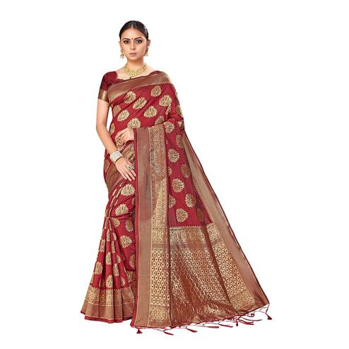 Amegh - Maroon Colored Festive Wear Woven Banarasi Silk Saree With Tassels