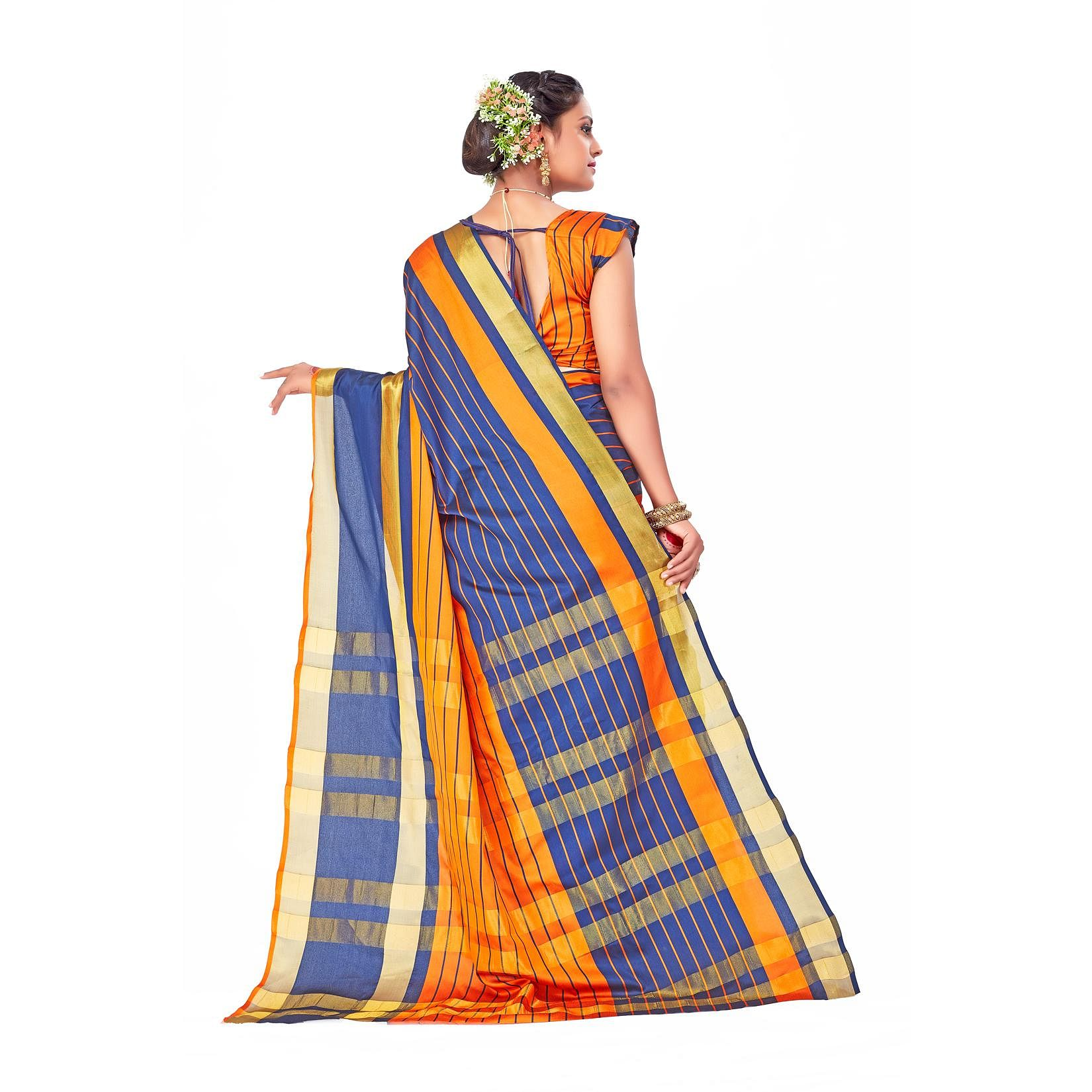 Amegh - Orange-Blue Colored Festive Wear Woven Cotton Silk Saree