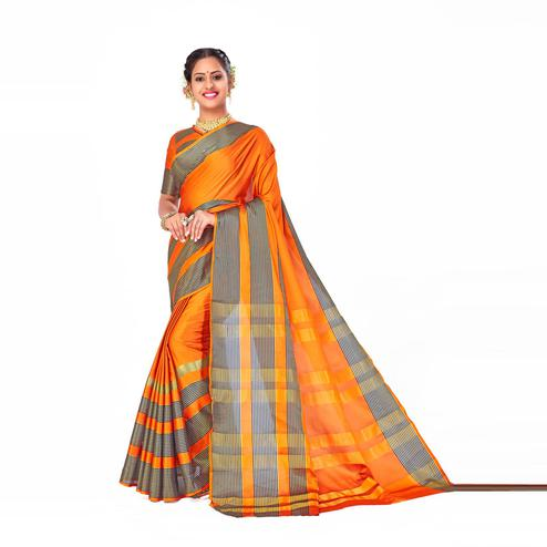 Amegh - Orange Colored Festive Wear Woven Cotton Silk Saree