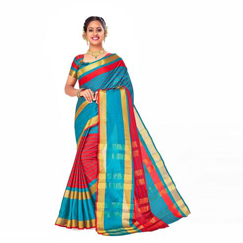 Amegh - Blue-Red Colored Festive Wear Woven Cotton Silk Saree
