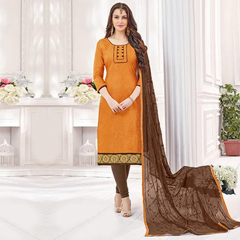 Mustard Yellow-Brown Partywear Embroidered Bombay Jacquard Salwar Suit