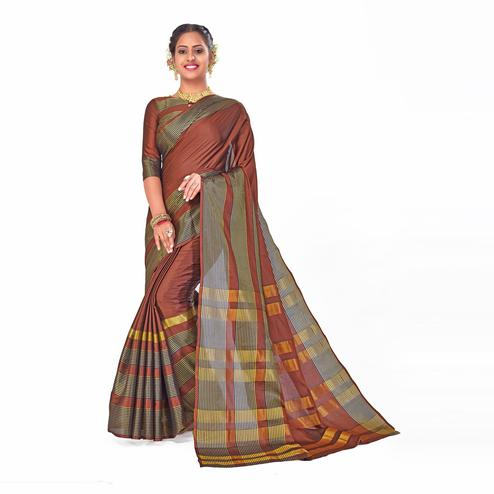 Amegh - Brown Colored Festive Wear Woven Cotton Silk Saree