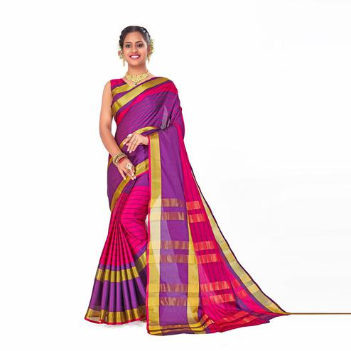 Amegh - Pink-Purple Colored Festive Wear Woven Cotton Silk Saree