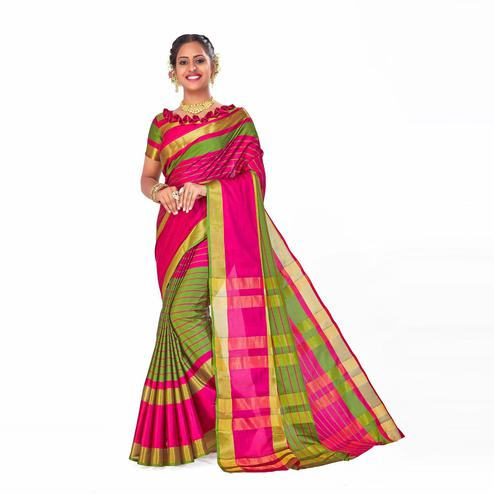 Amegh - Pink-Green Colored Festive Wear Woven Cotton Silk Saree