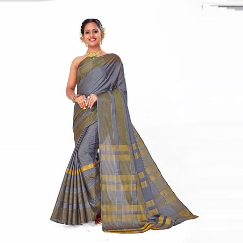 Amegh - Grey Colored Festive Wear Woven Cotton Silk Saree