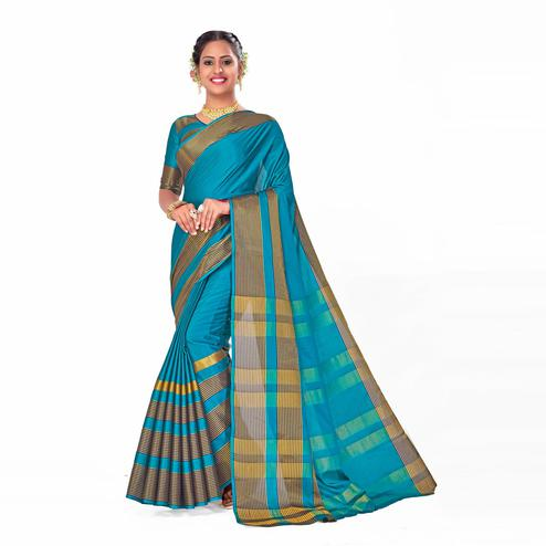 Amegh - Blue Colored Festive Wear Woven Cotton Silk Saree