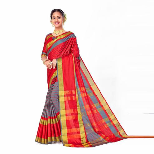 Amegh - Red-Grey Colored Festive Wear Woven Cotton Silk Saree