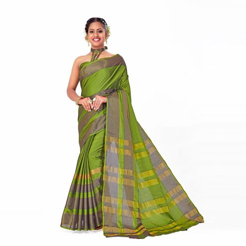 Amegh - Green Colored Festive Wear Woven Cotton Silk Saree